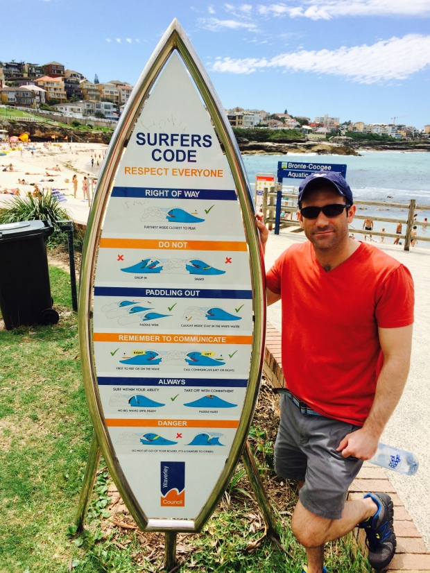 We both aspire to learn how to surf. This sign, like so many others instructions we've seen in Australia so far, was completely cryptic.
